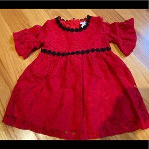 Toddler girls beautiful red dress